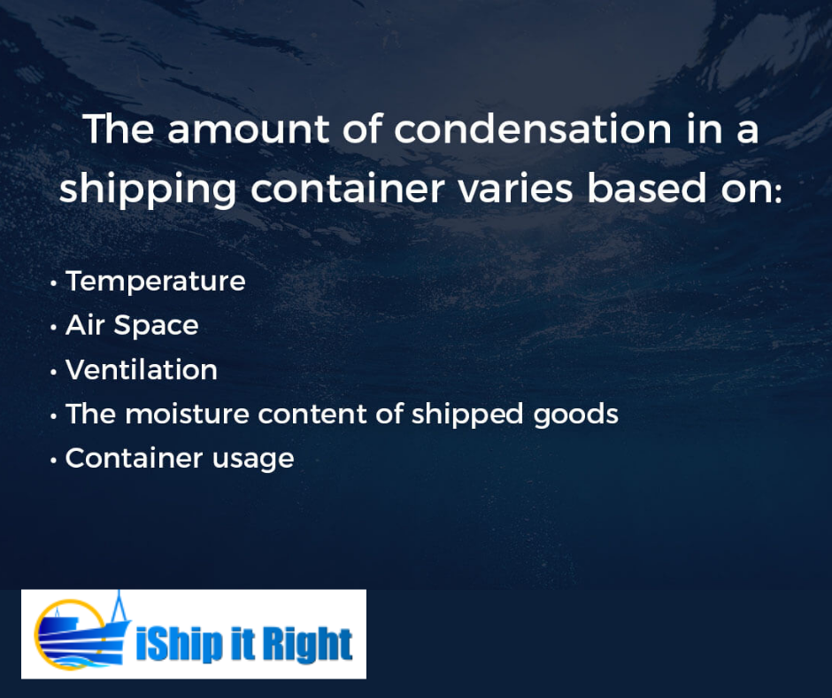 condensation in the container